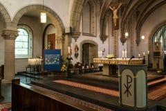 Rieden Германия 15 04 2018 интерьер простой церков с строками свободного места и красивым старым потолком Стоковое Фото