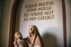 Rieden Germany 15.04.2018 The interior of a simple church with empty the Holy Mother Maria royalty free stock photo