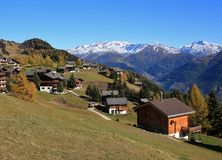 View from Riederalp, Swiss Alps. Autumn scene. Stock Image