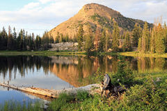 Rieds Peak from Clegg lake. Stock Photo