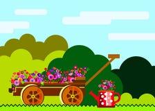 Riego del rastrillo del ejemplo del equipo del vector del jardín stock de ilustración