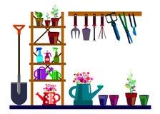 Riego del rastrillo del ejemplo del equipo del vector del jardín ilustración del vector