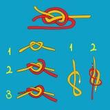 Riegue el nudo, cuadro ocho anudan, nudo por todo lo alto Imágenes de archivo libres de regalías