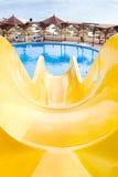 Parque del agua, tobogán acuático superior, primer Fotos de archivo