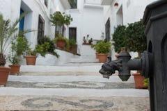 Riegue la válvula con los leones dirigen en un viejo bien en Andalucía, España Fotografía de archivo libre de regalías