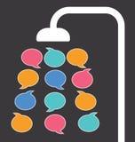 Riegue los descensos de las burbujas del discurso de una cabezal de ducha Imagen de archivo libre de regalías