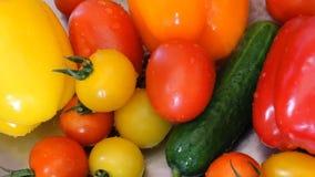 Riegue salpicar en los paprikas en la cámara lenta; el tiro en las verduras frescas de Phantom Flex Juicy miente en el fregadero  metrajes