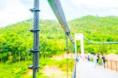 Riemen der Hängebrücke an Mae Kuang Udom Thara-Verdammung stockfoto