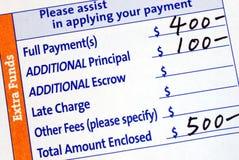 Riempia il buono di pagamento ipotecario fotografie stock libere da diritti