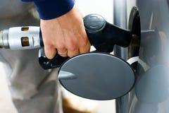 riempia la benzina in su Fotografia Stock
