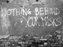 Rien derrière vos masques photographie stock