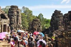 在riep siem寺庙附近的bayon柬埔寨 图库摄影