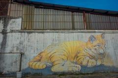 Riese Cat Mural, Straßenkunst in George Town, Malaysia Lizenzfreie Stockbilder