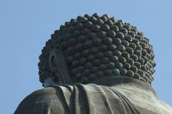 Riesebuddha-Blick von der Rückseite segnen Porzellangnade in Hong- Konginsel Stockfotos