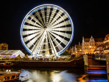 Riesenrad herein Gdansk nachts am 16. August 2014 Lizenzfreie Stockfotos