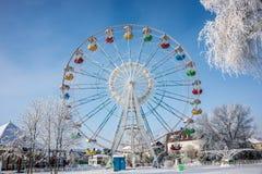 Riesenrad herein Wintermorgen, im Park Stockfotografie