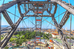 Riesenrad innen Wien Stockfoto