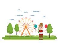 Riesenrad mechanisch und Clownjunge vektor abbildung