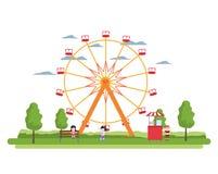 Riesenrad mechanisch und Kinder mit Shop lizenzfreie abbildung