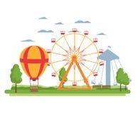 Riesenrad mechanisch und Luftballon lizenzfreie abbildung