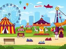 Riesenrad an night Die frohe Anziehungskraftunterhaltung unterhalten Karnevalsspaßzirkuskarussellspiel Funfair-Landschaftshinterg stock abbildung