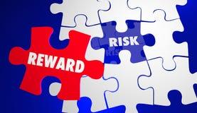 Riesgo contra la recompensa ROI Return Investment Puzzle Imágenes de archivo libres de regalías