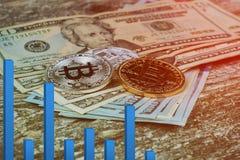 riesgo de la burbuja del bitcoin de bitcoins del dólar de EE. UU. del concepto del intercambio de dinero electrónico del concepto Foto de archivo libre de regalías