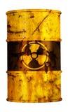 Riesgo de la contaminación de la basura nuclear del barril radiactivo Fotografía de archivo