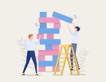 Riesgos de negocio, paso valiente, concepto del vector Competición del asunto Dos hombres de negocios están jugando al juego de l libre illustration