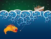 Riesige Fische und Fischerboot Lizenzfreie Stockfotos