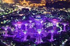 Riesige glühende Baum ähnliche Strukturen durch Marina Bay, Singapur stockbilder