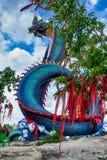 Riesige thailändische Naga-Statue Stockfotos