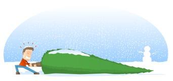 Riesige Weihnachtsbaum-Karikatur Stockbilder