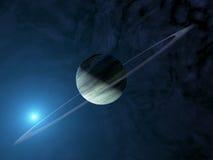 Riesiger extrasolar Gasplanet mit Ringsystem Lizenzfreies Stockfoto