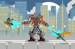Riesiger Flammenwerferroboter, der einen afrikanischen Superhelden kämpft vektor abbildung