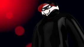 Riesiger Hacker mit schwarzem Mantel und Baseballmütze Stockfotografie