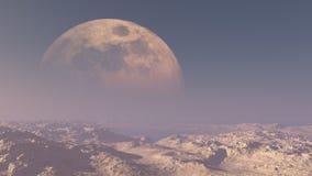Riesiger Mond über Wüste vektor abbildung