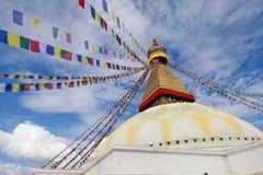 Riesiges buddhistisches stupa Boudhanath in Kathmandu Himalaja Nepal lizenzfreies stockfoto