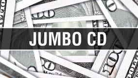 Riesiges CD Nahaufnahme-Konzept Amerikanische Dollar des Bargeld-, Wiedergabe 3D Riesige CD an der Dollar-Banknote Finanz-USA-Gel stock abbildung
