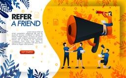 Riesiges Megaphon für on-line-Förderungs- und Empfehlungsprogramme beziehen Sie sich eine auf Freundwebsite, Leute, die Hände rüt lizenzfreie abbildung