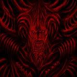 Riesiges Monster mit Hörnern Rote Hintergrundfarbe stockbilder