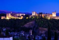 Riesiges panoramisches Alhambrades Granada nachts Lizenzfreie Stockfotos