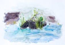Riet, waterverfachtergrond Stock Foto
