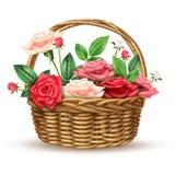 Rieten de Mand Realistisch Beeld van rozenbloemen royalty-vrije illustratie