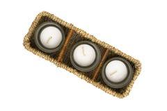 Rieten doos met kaarsen Stock Afbeelding
