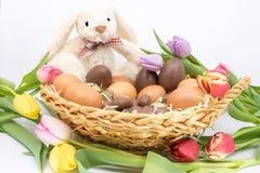 Rieten mand, met inbegrip van de Paashaas terug van de eijacht Pasen-viering stock foto's
