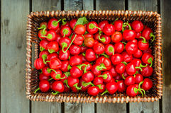 Rieten mand van roodgloeiende peper Stock Fotografie