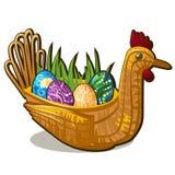 Rieten mandvorm van kippenvogel met reeks kleurrijke oostelijke die eieren met edelstenen op wit worden ingelegd stock illustratie