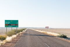 Distance sign on the R31-road between Rietfontein and Askham Royalty Free Stock Photos