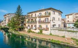 Rieti, capital of Sabina historical region, view from Velino river, Lazio Italy. stock image